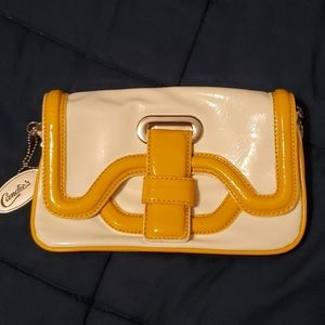Candie's retro cream yel clutch bag shoulder strap